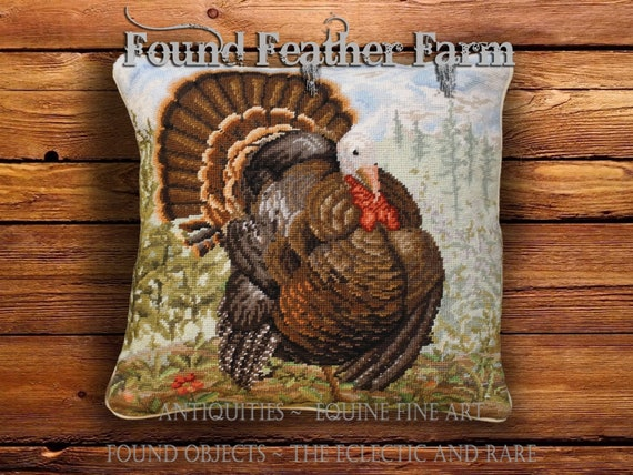 Handmade Needlepoint Pillow With a Tom Turkey Image with Down Insert