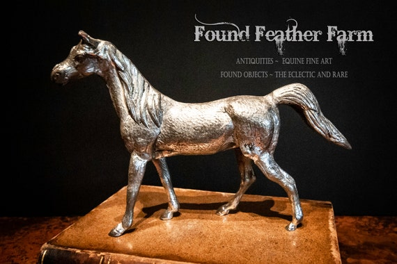 Vintage Weighted Cast Aluminum Silver Equine Statue