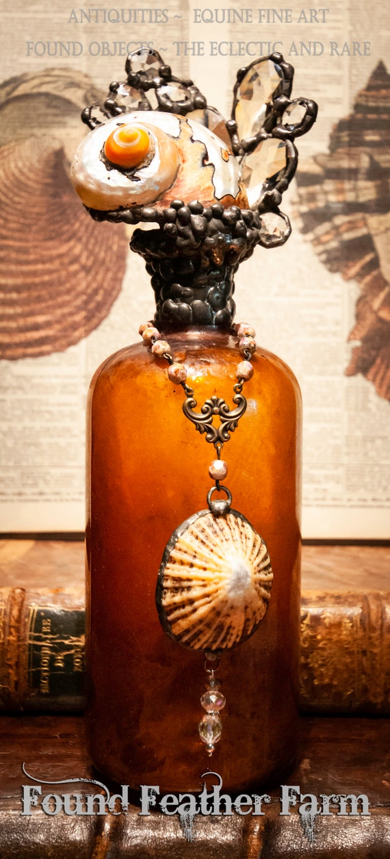 "Handmade Seashell Cross Bottle with an Antique 1880 Amber Glass Bottle From the ""Ocean Collection"""