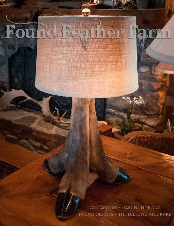 Fabulous Handmade Antique Elk Foot Lamp