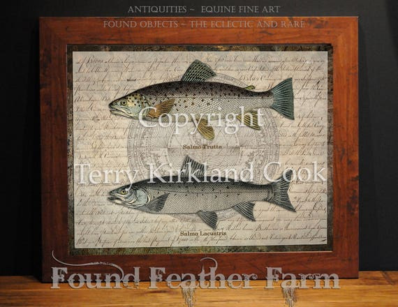 "Two Trout ~ Original Vintage Art Collage 20"" x 24""Framed Giclee Print"