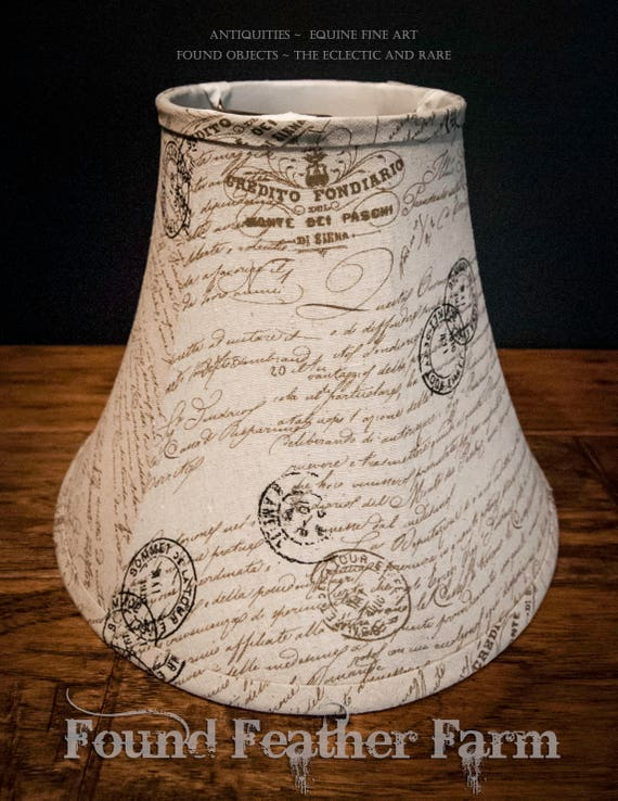 Handmade Linen Lamp Shade with French Ephemera