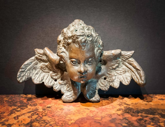 Antique Bronze Cherub Head with Wings from England