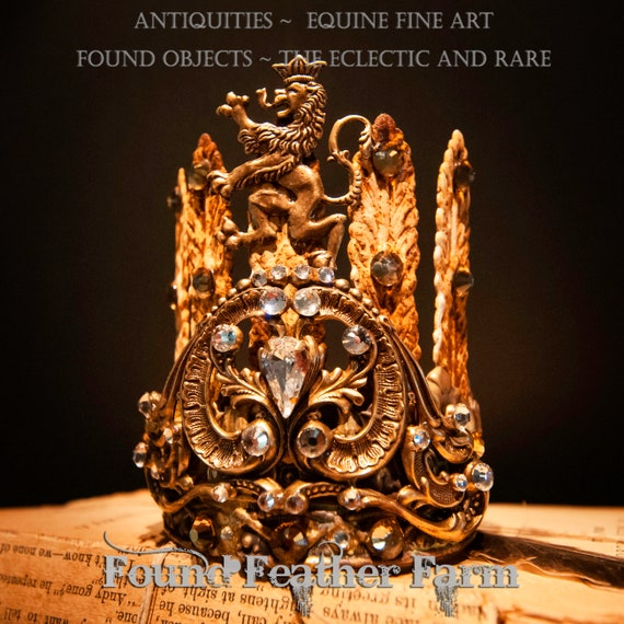A Handmade Handpainted Acanthus Leaf Crown with a Ginger Brass Repousse Flourish and Griffin