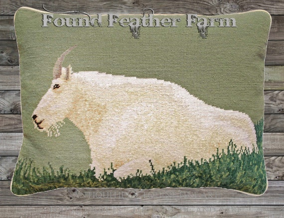 "Handmade Wool Needlepoint Pillow of an 18"" x 18"" Mountain Goat with Goose Down Fill"
