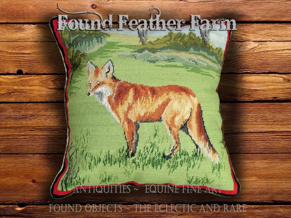 Handmade Needlepoint Pillow of an English Red Fox with Goose Down Fill