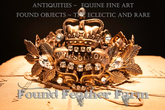 Handmade Ginger Brass Crown with Repousse Brass Findings, Rhinestone Jewels and a Ginger Brass Badge Pin