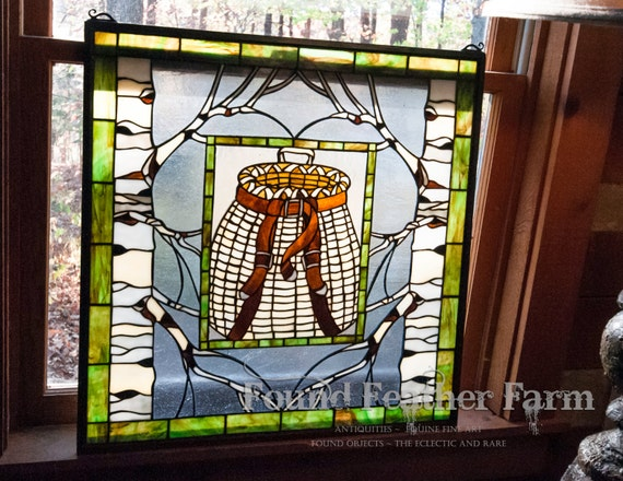Detailed Stained Glass Pack Basket Glass Window Panel