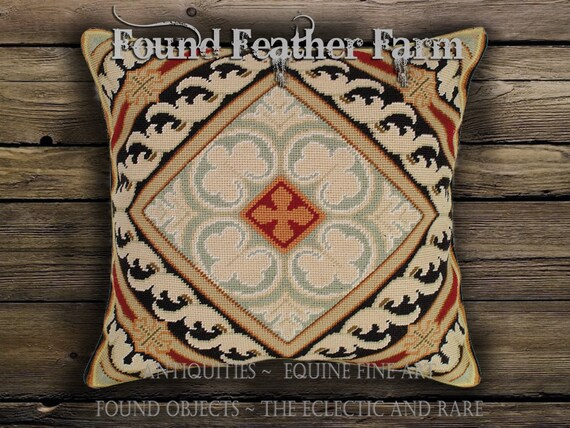 Handmade Needlpoint Pillow with a Classical Acanthus Leaf Damask Pattern and Goose Down Fill