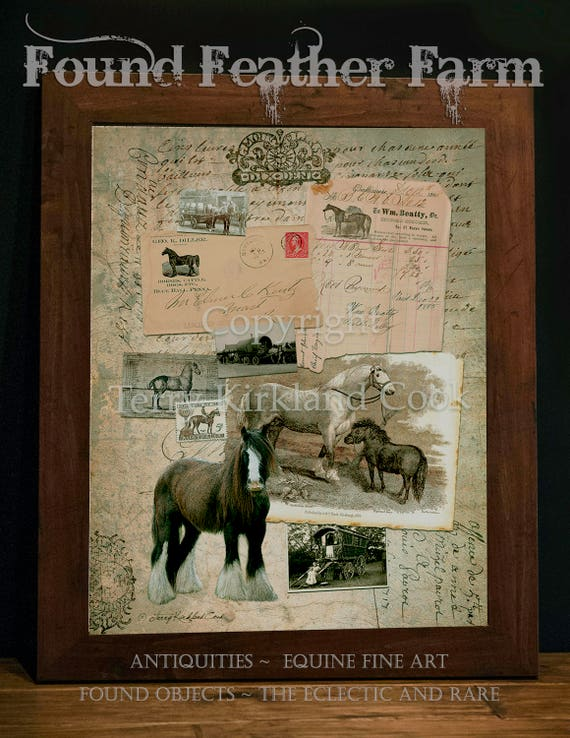 "The Working Horse ~ Original Vintage Art Collage 20"" x 24"" Framed Giclee Print"