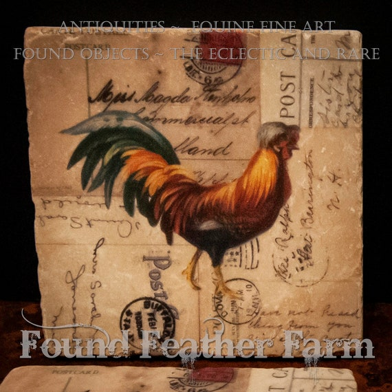 Tumbled Marble Coasters with Vintage French Hens and Roosters