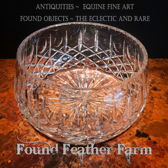 Sparkling Large Austrian Vintage Lead Crystal Bowl for Serving or Display