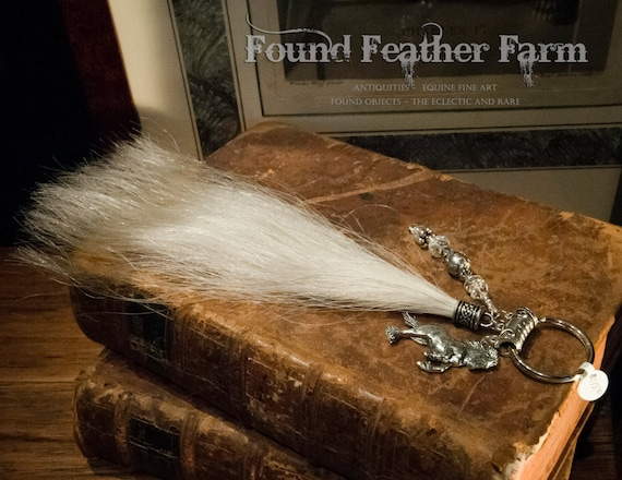 White Horsehair Key Ring with Pewter Rearing Gypsy and Crystal Charms