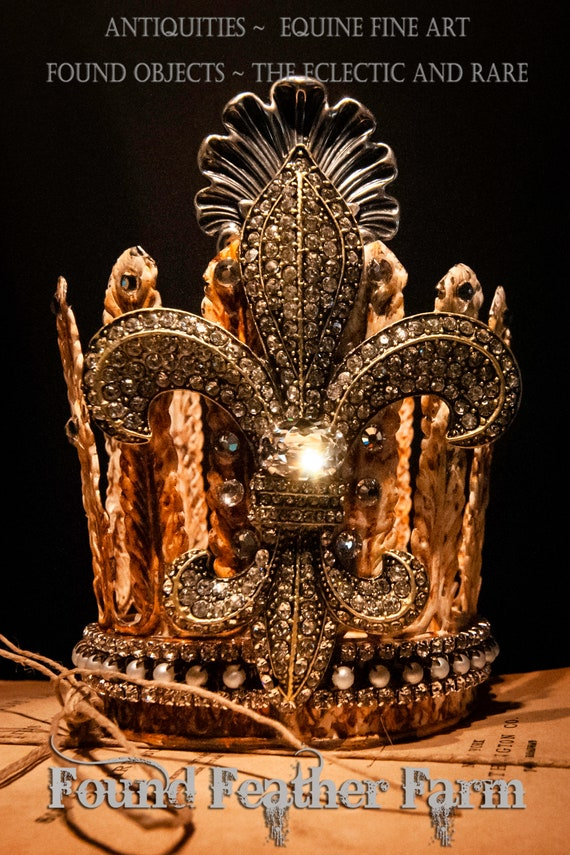 Handmade Rusted Acanthus Leaf Crown with a Large Silver Shell Flourish and a Spectacular Jeweled Fleur De Lis Detail