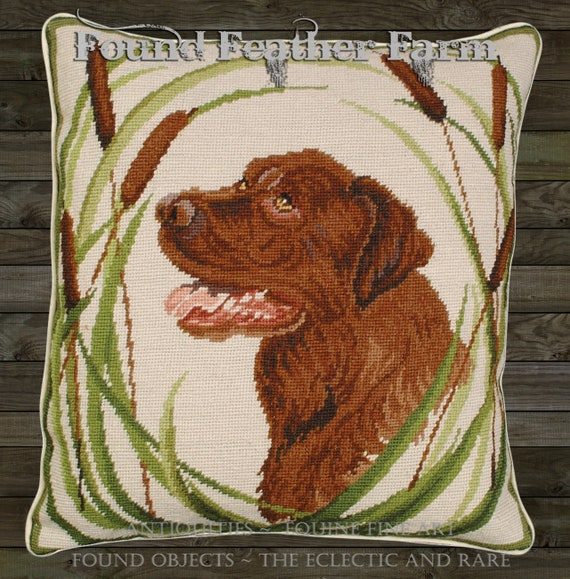 "Handmade Wool 18"" x 18"" Needlepoint Pillow of a Labrador Retriever with Down Fill"