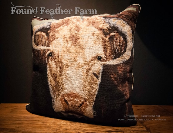 "Handmade Wool 20"" x 20"" Needlepoint Pillow of Bucky the Bull with Down Fill"