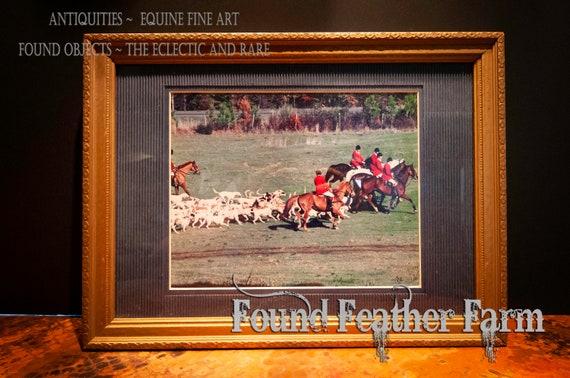 Framed Vintage Photo of a Virginia Fox Hunt Circa 1996