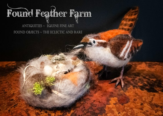 Handmade Needle Felted Wren with Nest and Eggs