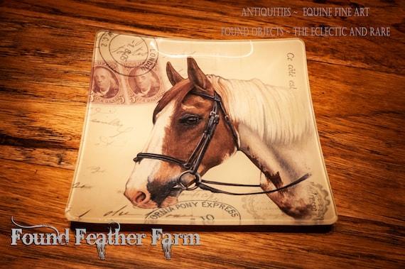 Vintage Inspired Handmade Glass Equine Tray Dish