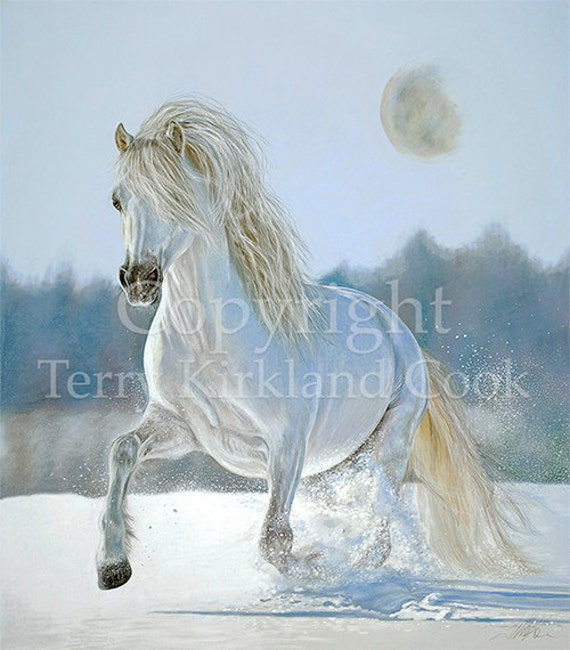 Running With the Moon ~ Fine Art Giclee Print of an Original Copyrighted Painting by Terry Kirkland Cook