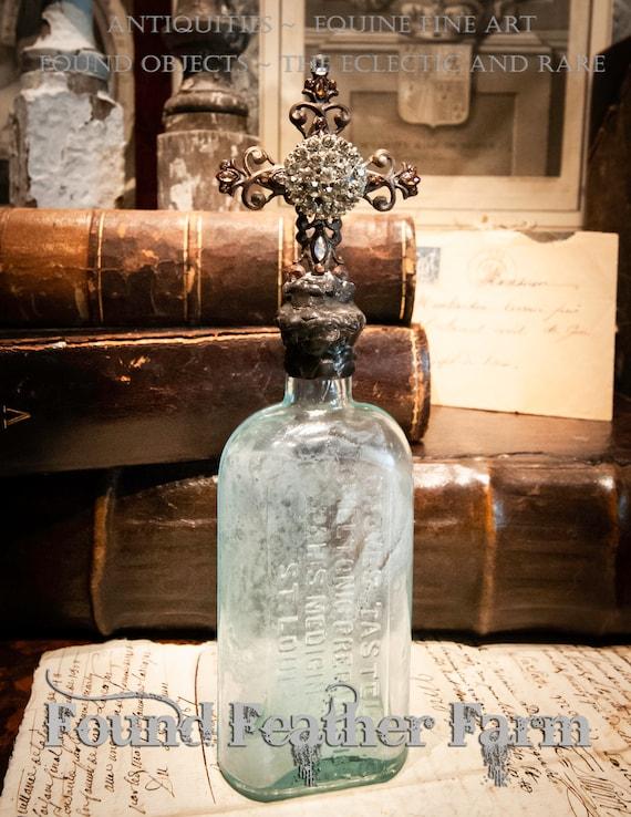 Handmade Glass Cross Bottle with a Circa 1878 Antique Milky Green Glass Bottle Base