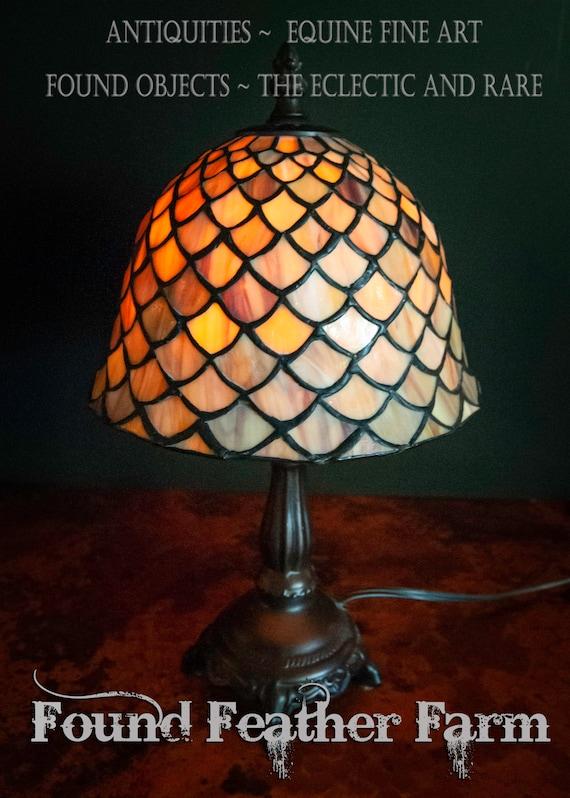 Beautiful Tiffany Style Fishscale Stained Glass Mini Lamp