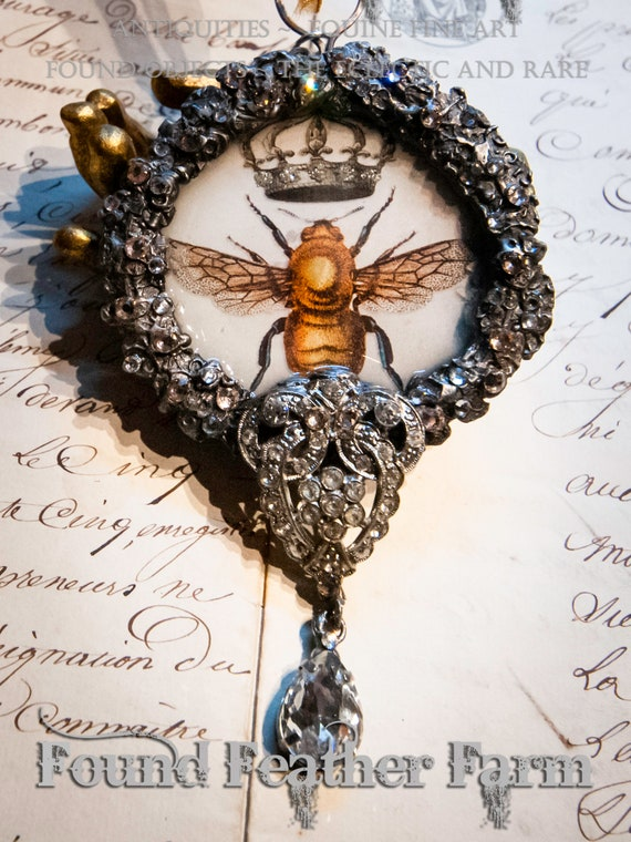 Handmade Gilded Solder Jeweled Crown and Bee Pendant or Ornament With Tiny Jewels