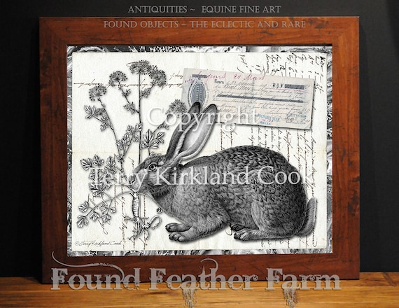 """The English Hare ~ Original Vintage Art Collage 20"""" x 24"""" Framed Giclee Print"""