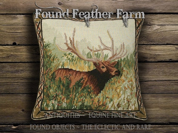 Handmade Needlepoint Pillow of an Elk in the Woods with a Goose Down Insert