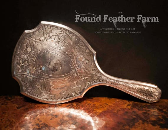 Antique Silverplate Etched Edwardian English Hand Mirror
