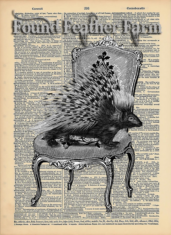 """Vintage Antique Dictionary Page with Antique Print """"Take a Seat"""""""