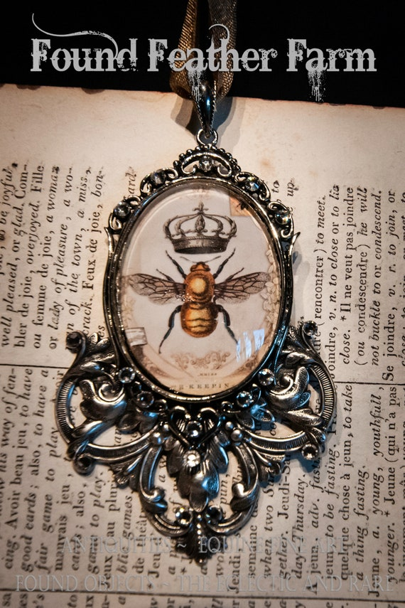Handmade Medium Embellished Glass and Silver Honey Bee and Crown Ornament with Gold Hanging Ribbon