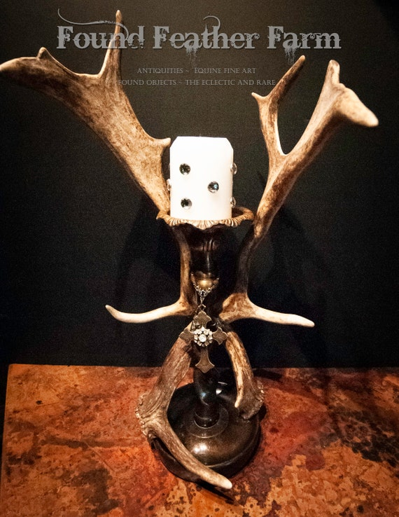 Vintage English Fallow Antlers adorn a Bronze Candleholder, a Brass Cross and Vintage Brooch