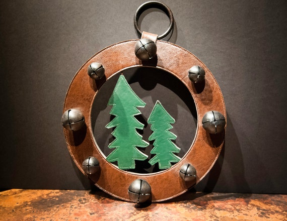 Handmade Leather Pine Tree Holiday Wreath with Jingle Bells