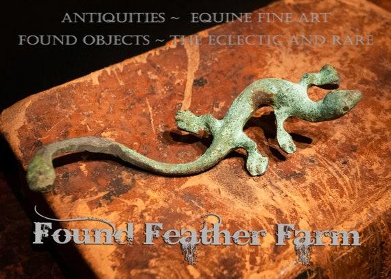 Vintage Solid Bronze Salamander Handle with Green Patina
