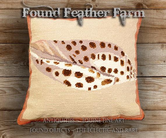 Handmade Needlepoint Pillow Featuring an Ocean Volute Seashell with a Down Insert