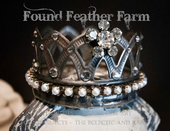 Precious Little Handmade Embellished Tin Crown with Vintage Pearls and Jewels