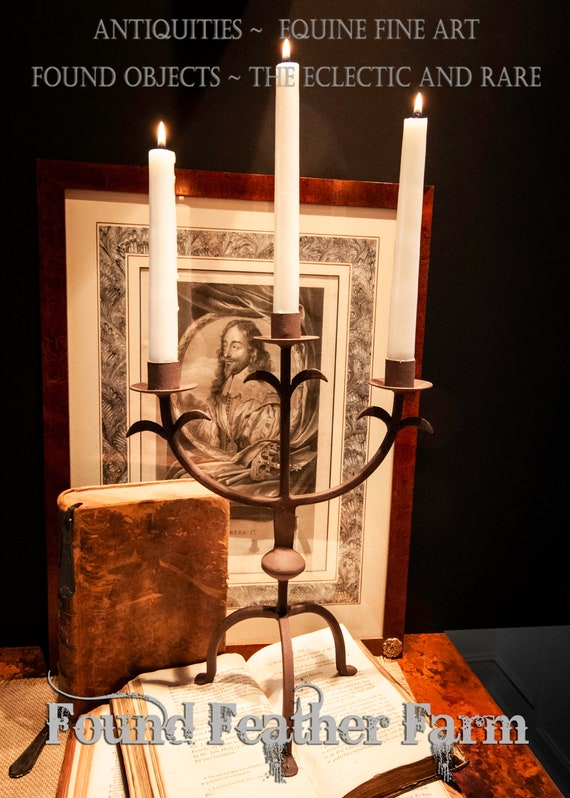 A Vintage Reproduction Iron Candleholder for Three Candles