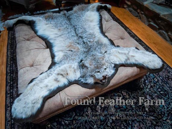 Stunning Vintage Canadian Lynx Taxidermy Felted Rug