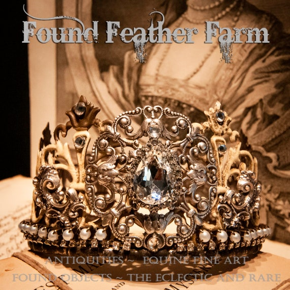 Beautiful Handmade Painted Metal Lace Crown Embellished with Vintage Rhinestone Jewels and Silver Findings