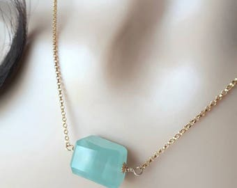Aquamarine Necklace On Gold - Aquamarine Nugget Necklace - Gift For Her - Gift For Mom