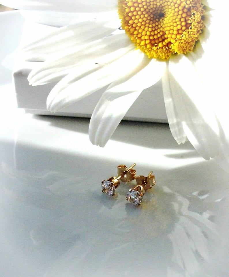 Bridal Earrings Gift For Her Gold Filled Crystal Stud Earrings Gift For Mom