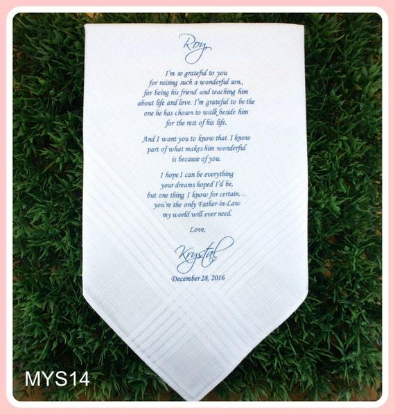 Father of the Groom Hankerchief-Wedding Handkerchief-PRINT-CUSTOMIZE-Wedding Hankies-Father in Law-Wedding Gift-Father of the bride gift
