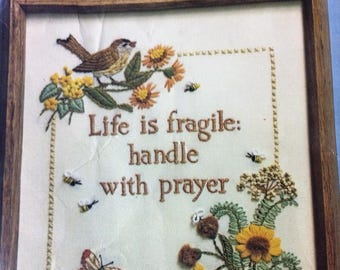 Creative Circle Stamped Embroidery Kit 'Life Is Fragile Handle with Prayer' 1004 New