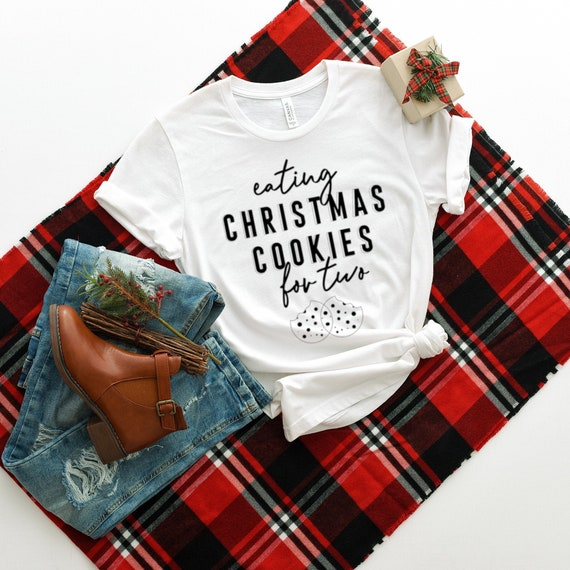 Christmas Pregnancy Announcement Shirt Cookies for Two