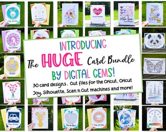 The huge card bundle! svg / dxf / eps files. Digital download. Compatible with Silhouette, Cricut, Cricut Joy, SCAL, and Scan n Cut.