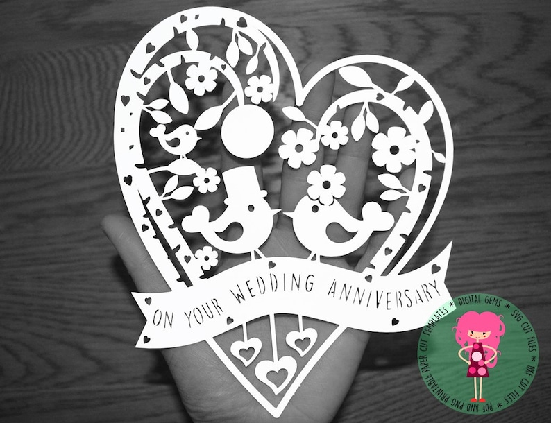 anniversary paper cut svg  dxf  eps  files and pdf
