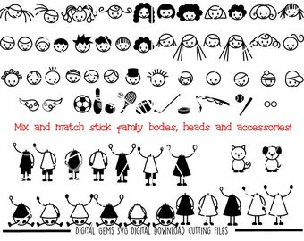 Stick figures mix and match svg / dxf / eps / png files. Download. Compatible with Cricut, Silhouette, SCAL, Scan n Cut. Commercial use ok.
