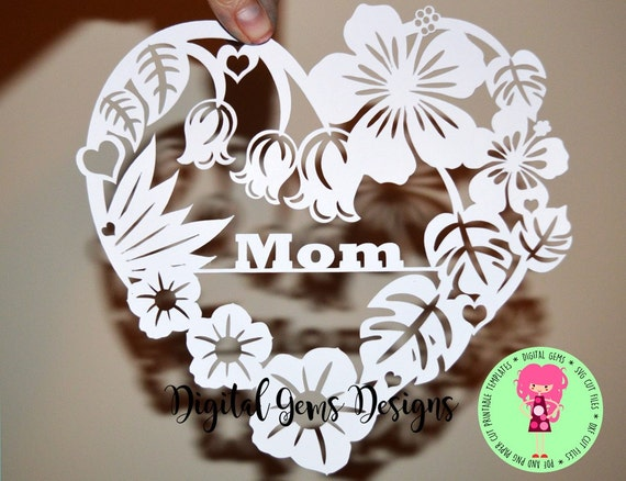 mom heart flower papercut template svg dxf cutting file for etsy