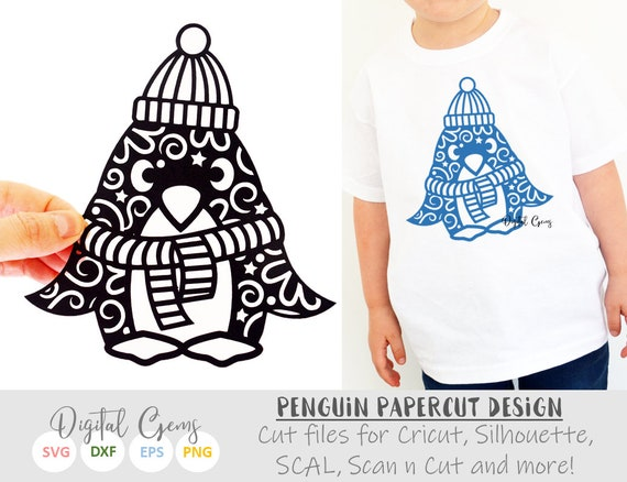 Penguin Paper Cut Svg Dxf Eps Files And Pdf Png Etsy